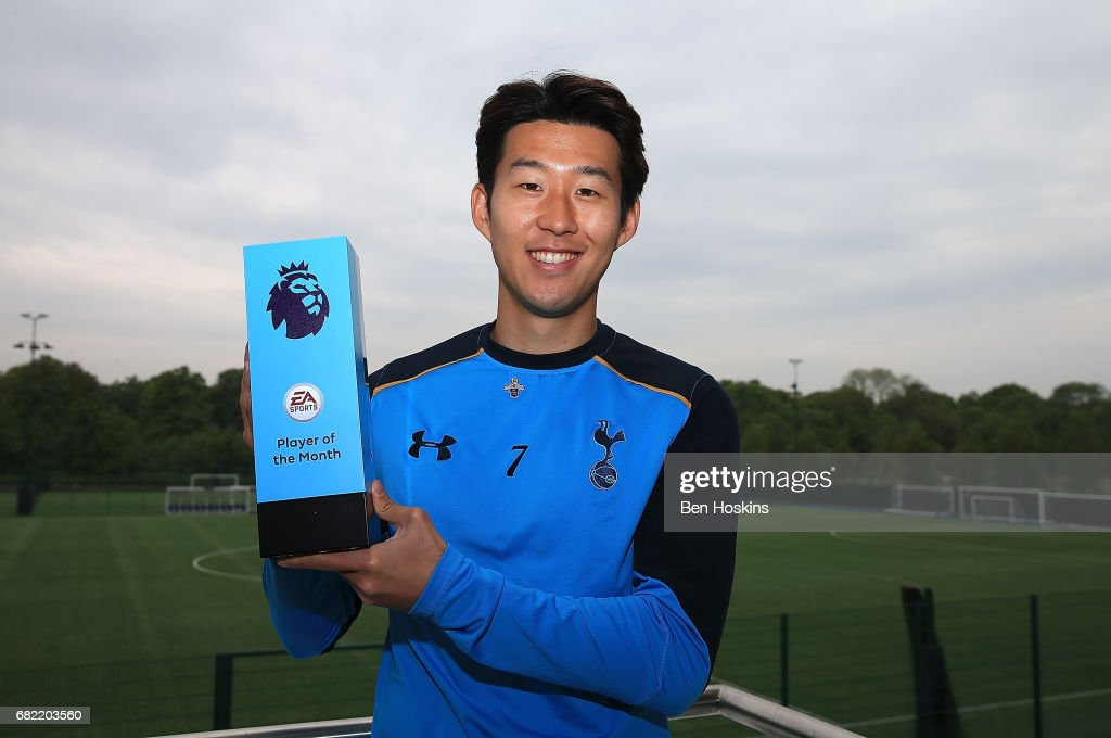 Son Heung-min of Tottenham Hotspur poses with his EA Sports Player of the Month award on May 11, 2017 in Enfield, England.