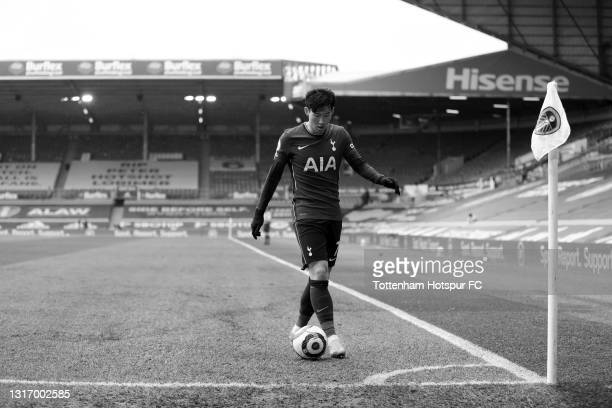 Son Heung-Min of Tottenham Hotspur prepares to take a corner kick during the Premier League match between Leeds United and Tottenham Hotspur at...