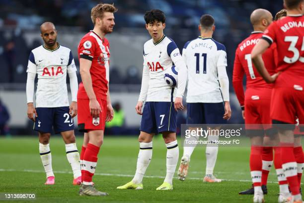 Son Heung-Min of Tottenham Hotspur prepares to take a penalty during the Premier League match between Tottenham Hotspur and Southampton at Tottenham...