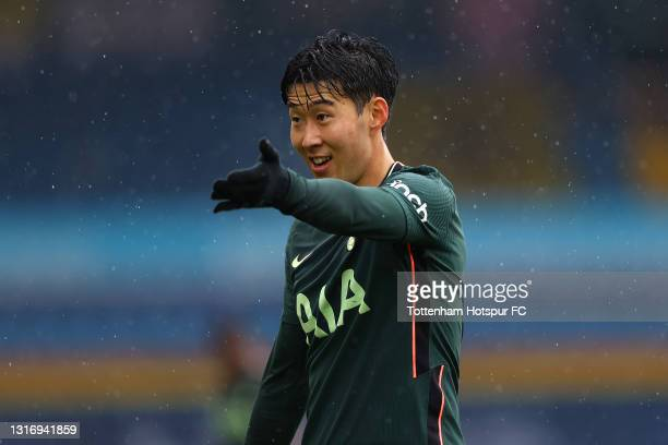 Son Heung-Min of Tottenham Hotspur reacts during the Premier League match between Leeds United and Tottenham Hotspur at Elland Road on May 08, 2021...