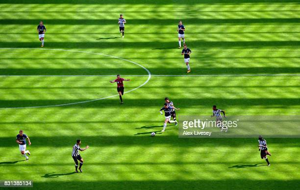 Son HeungMin of Tottenham Hotspur runs at the Newcastle United defence during the Premier League match between Newcastle United and Tottenham Hotspur...