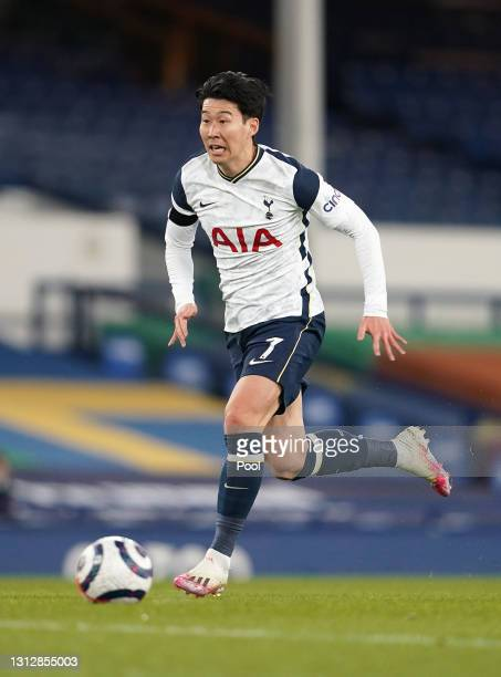 Son Heung-Min of Tottenham Hotspur runs with the ball during the Premier League match between Everton and Tottenham Hotspur at Goodison Park on April...