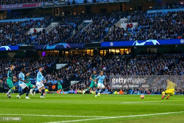 Son Heungmin of Tottenham Hotspur scores a goal to make it 11 during the UEFA Champions League Quarter Final second leg match between Manchester City...