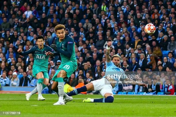 Son Heungmin of Tottenham Hotspur scores a goal to make it 12 during the UEFA Champions League Quarter Final second leg match between Manchester City...