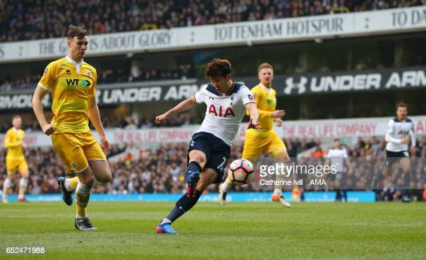 Son Heungmin of Tottenham Hotspur scores a goal to make it 30 during The Emirates FA Cup QuarterFinal match between Tottenham Hotspur and Millwall at...