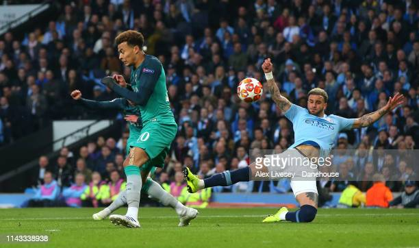 Son Heung-min of Tottenham Hotspur scores his second goal during the UEFA Champions League Quarter Final second leg match between Manchester City and...