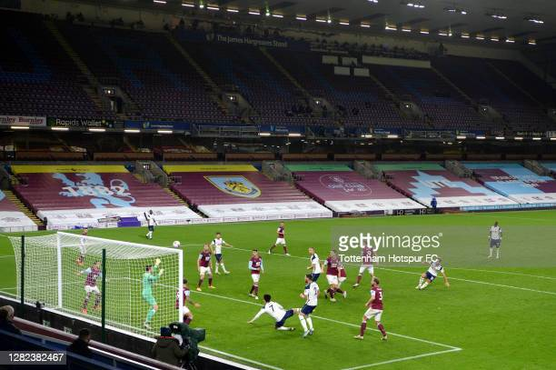Son Heung-Min of Tottenham Hotspur scores his team's first goal during the Premier League match between Burnley and Tottenham Hotspur at Turf Moor on...
