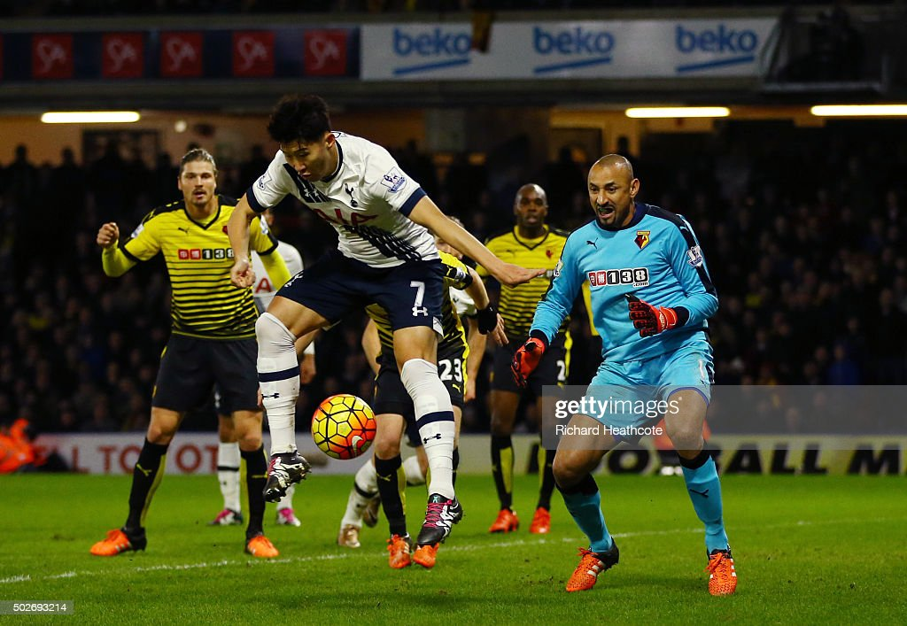 Son Heung-min of Tottenham Hotspur scores his team's second goal during the Barclays Premier League match between Watford and Tottenham Hotspur at Vicarage Road on December 28, 2015 in Watford, England.
