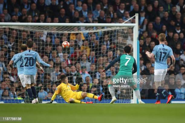 Son Heung-min of Tottenham Hotspur scores their 1st goal during the UEFA Champions League Quarter Final second leg match between Manchester City and...