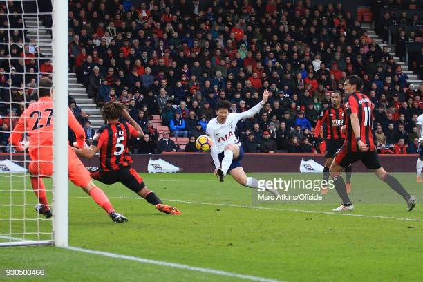 Son Heungmin of Tottenham Hotspur scores their 2nd goal during the Premier League match between AFC Bournemouth and Tottenham Hotspur at Vitality...