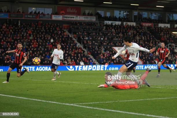 Son Heungmin of Tottenham Hotspur scores their 3rd goal during the Premier League match between AFC Bournemouth and Tottenham Hotspur at Vitality...