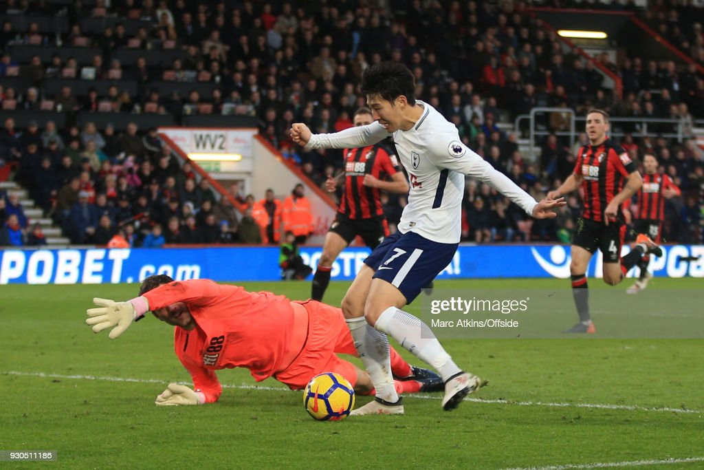Son Heung-min of Tottenham Hotspur scores their 3rd goal during the Premier League match between AFC Bournemouth and Tottenham Hotspur at Vitality Stadium on March 11, 2018 in Bournemouth, England.