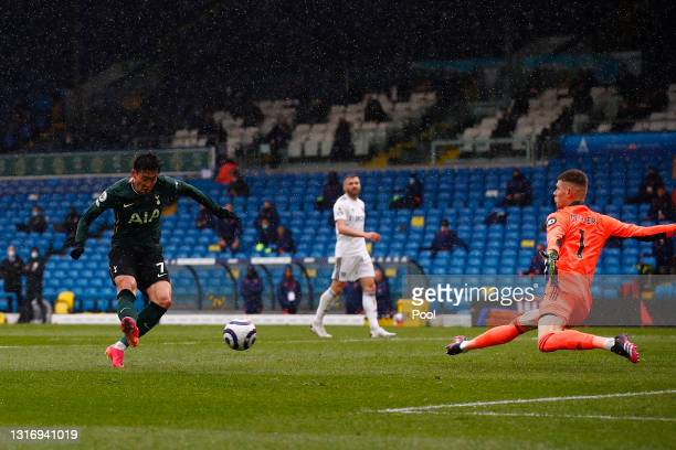 Son Heung-Min of Tottenham Hotspur scores their side's first goal past Illan Meslier of Leeds United during the Premier League match between Leeds...
