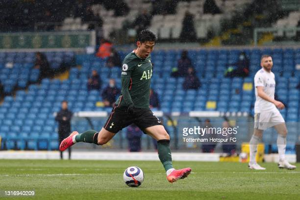 Son Heung-Min of Tottenham Hotspur scores their side's first goal during the Premier League match between Leeds United and Tottenham Hotspur at...