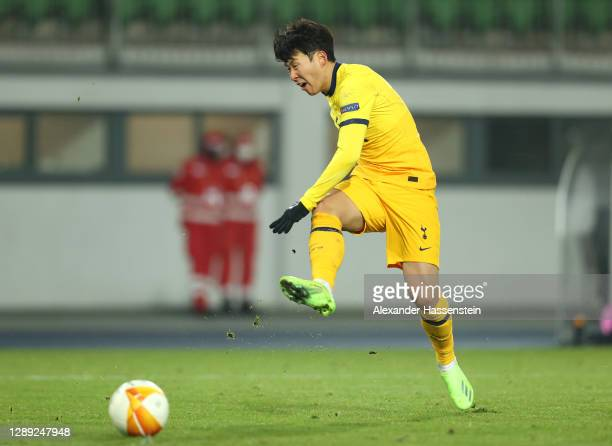 Son Heung-Min of Tottenham Hotspur scores their team's second goal during the UEFA Europa League Group J stage match between LASK and Tottenham...