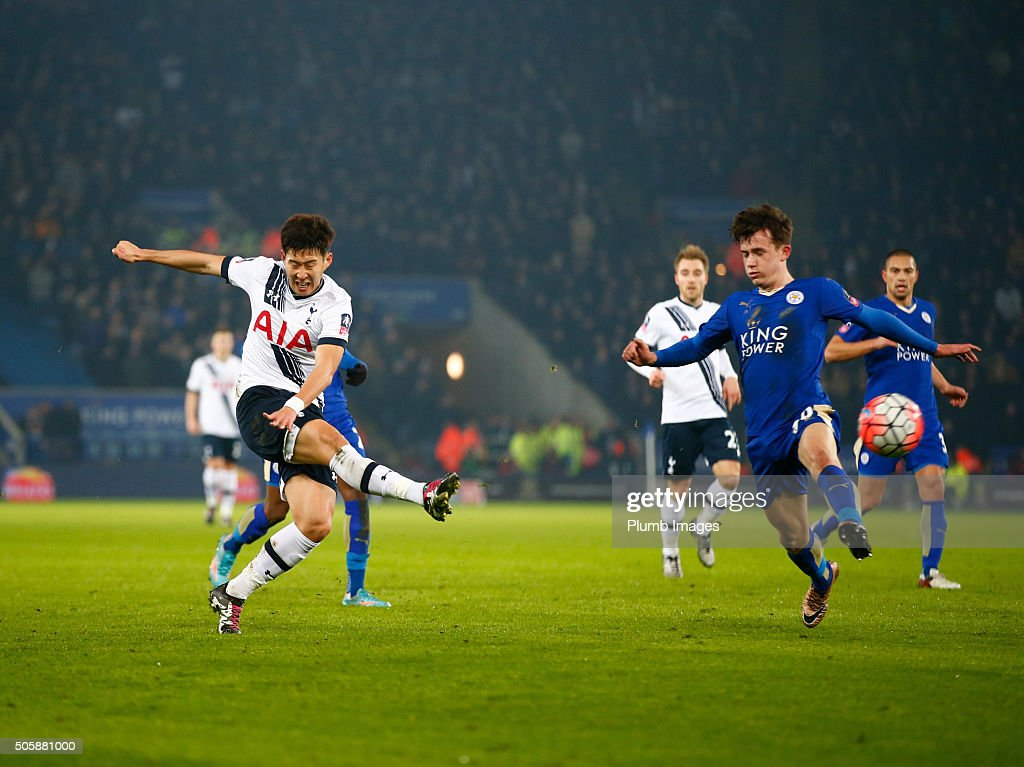 Son Heung-Min of Tottenham Hotspur scores to make it 0-1 during The Emirates FA Cup Third Round Replay match between Leicester City and Tottenham at the King Power Stadium on January 20 , 2016 in Leicester, United Kingdom.