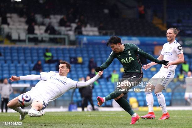 Son Heung-Min of Tottenham Hotspur shoots and misses during the Premier League match between Leeds United and Tottenham Hotspur at Elland Road on May...