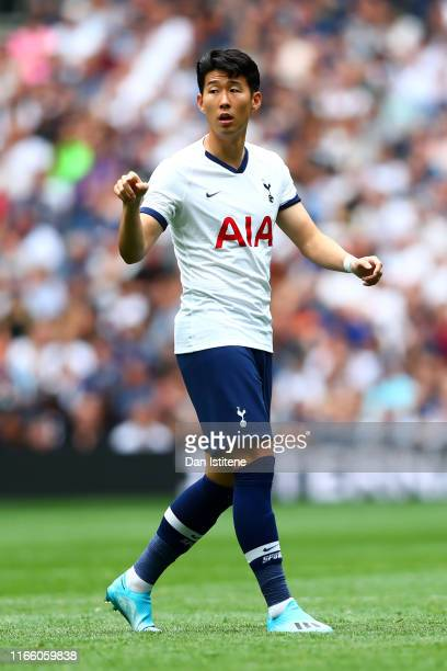 Son HeungMin of Tottenham Hotspur signals during the 2019 International Champions Cup match between Tottenham Hotspur and FC Internazionale at...