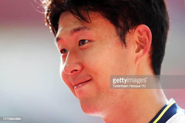 Son Heung-Min of Tottenham Hotspur speaks to the media after he scored four goals helping his team to victory during the Premier League match between...