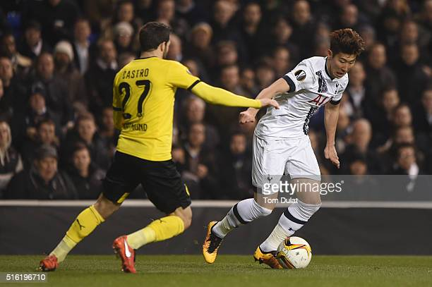 Son Heungmin of Tottenham Hotspur takes on Gonzalo Castro of Borussia Dortmund during the UEFA Europa League round of 16 second leg match between...