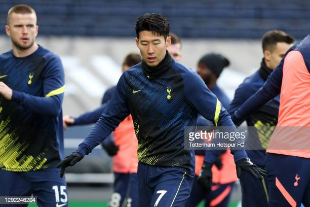 Son Heung-Min of Tottenham Hotspur warms up prior to the Premier League match between Tottenham Hotspur and Leicester City at Tottenham Hotspur...