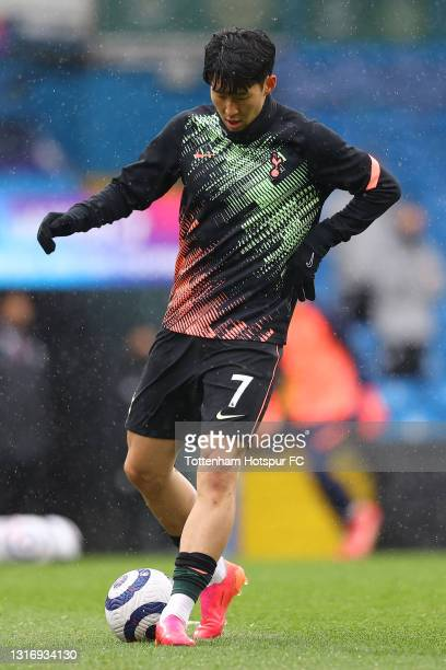Son Heung-Min of Tottenham Hotspur warms up prior to the Premier League match between Leeds United and Tottenham Hotspur at Elland Road on May 08,...