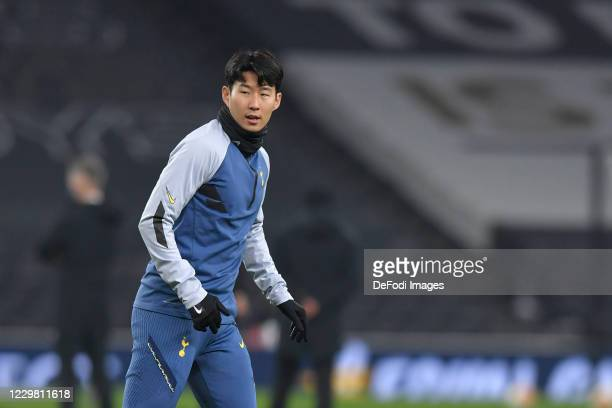 Son HeungMin of Tottenham Hotspur warms up prior to the UEFA Europa League Group J stage match between Tottenham Hotspur and PFC Ludogorets Razgrad...