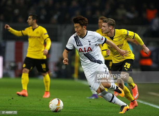 Son HeungMin of Tottenham Hotspurs in action during the UEFA Europa League round of 16 first leg soccer match between Borussia Dortmund and Tottenham...