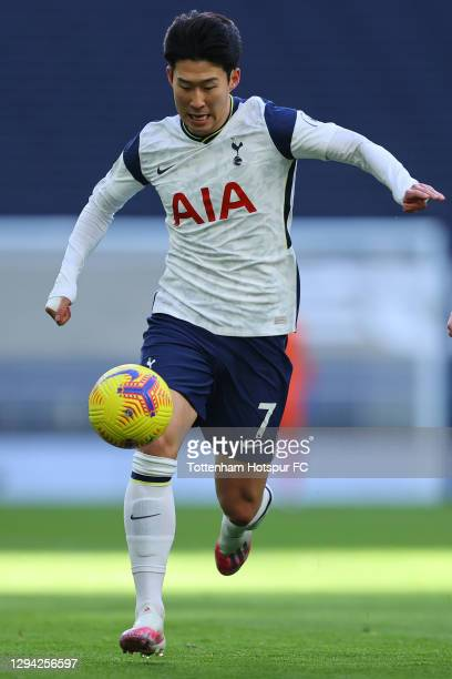 Son Heung-Min of Tottenham in action during the Premier League match between Tottenham Hotspur and Leeds United at Tottenham Hotspur Stadium on...
