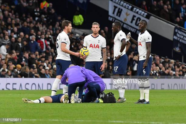 Son Heungmin of Tottenham receives treatment during the Premier League match between Tottenham Hotspur and Burnley at White Hart Lane London on...
