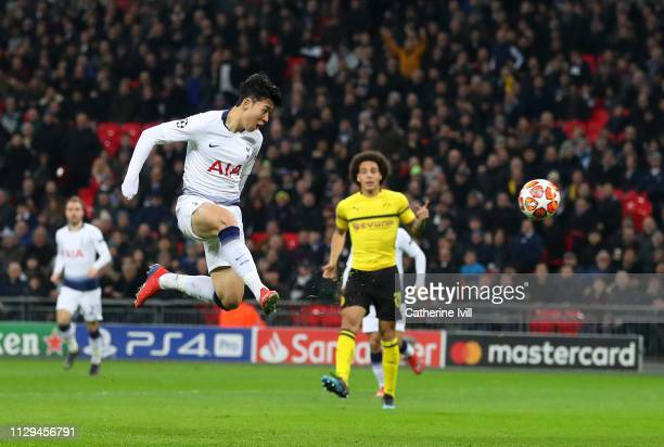 Son HeungMin of Tottenham scores to make it 10 during the UEFA Champions League Round of 16 First Leg match between Tottenham Hotspur and Borussia...