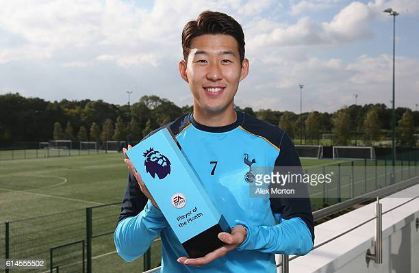 Son Heungmin poses for a portrait after being named Premier League Player Of The Month at Tottenham Hotspur Training Center on October 13 2016 in...