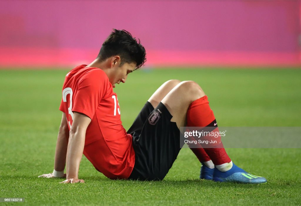 Son Heung-Min reacts after the international friendly match between South Korea and Bosnia & Herzegovina at Jeonju World Cup Stadium on June 1, 2018 in Jeonju, South Korea.