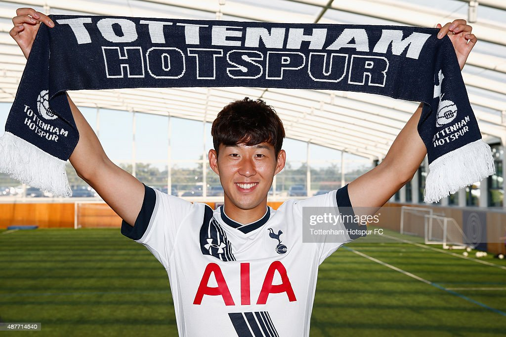 Son Heung-Min, Spurs new signing poses for a photo at Spurs Training Ground on September 10, 2015 in Enfield, England.