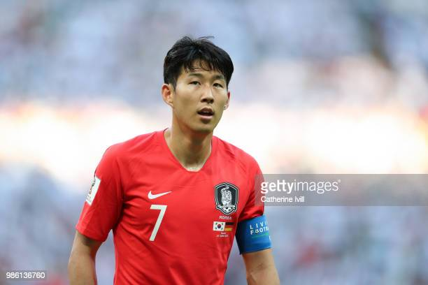 Son HeungMing of South Korea during the 2018 FIFA World Cup Russia group F match between Korea Republic and Germany at Kazan Arena on June 27 2018 in...