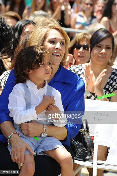 Son Max Anthony and mother Guadalupe Lopez attend the ceremony that honored Jennifer Lopez with a Star on The Hollywood Walk of Fame