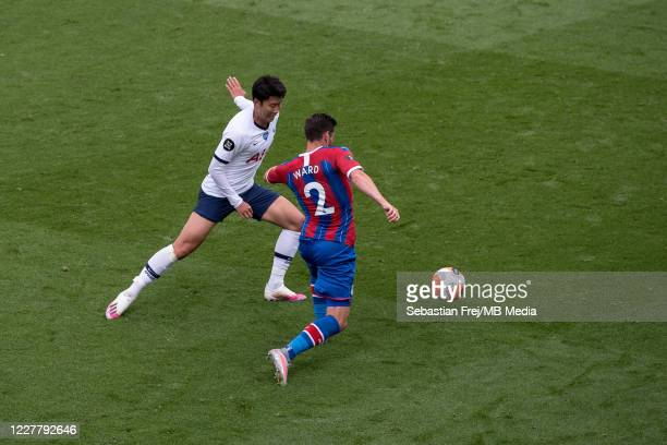 Son MinHeung of Tottenham Hotspurand Joel Ward of Crystal Palace in action during the Premier League match between Crystal Palace and Tottenham...