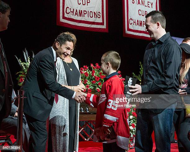 Son Murray Howe and daughter Cathy Howe of the late Gordie Howe greet a fan paying their respects during the Gordie Howe Visitation at Joe Louis...