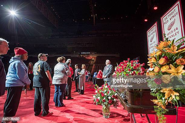 Son Murray Howe and daughter Cathy Howe of the late Gordie Howe greet fans paying their respects during the Gordie Howe Visitation at Joe Louis Arena...