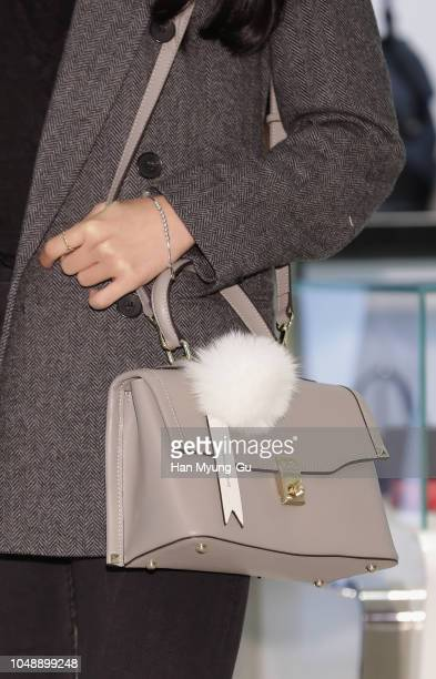 Son NaEun bag detail of South Korean girl group APink attends the 'Samantha Thavasa' Launch at Lotte Department Store on October 10 2018 in Seoul...
