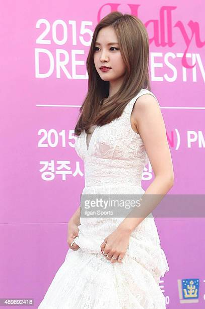 Son NaEun of A pink poses for photographs during the 2015 Hallyu Dream Festival at Gyeongju Civic Stadium on September 20 2015 in Gyeongju South Korea