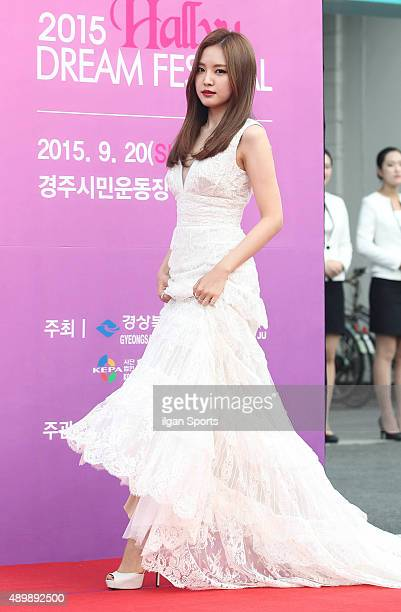 Son NaEun of A pink poses for photographs during the 2015 Hallyu Dream Festival at Gyeongju Civic Stadium on September 20 2015 in Gyeongju South Korea