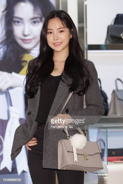 Son NaEun of South Korean girl group APink attends the 'Samantha Thavasa' Launch at Lotte Department Store on October 10 2018 in Seoul South Korea
