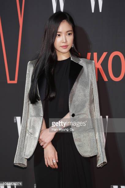 Son NaEun of South Korean girl group APink poses for photographs at the W Magazine Korea Breast Cancer Awareness Campaign 'Love Your W' at Four...