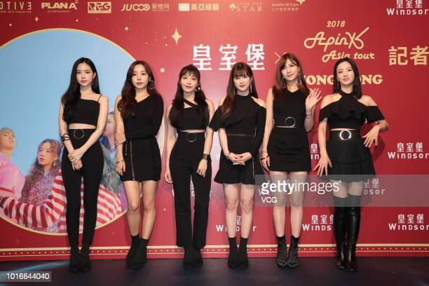 Son Naeun Park Chorong Yoon Bomi Jung Eunji Son Naeun Kim Namjoo and Oh Hayoung of South Korean girl group Apink pose during a fan meeting of 2018...