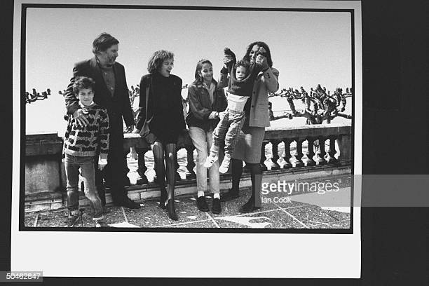 Son of actor Charlie Chaplin Michael Chaplin posing w kids Tracy Carmen Kathleen his wife Tricia who is holding three yr old son George on the...
