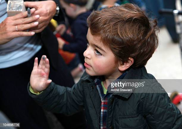 Son of actress Mariska Hargitay August Miklos Friedrich Hermann attends the Ultimate Block Party at Naumburg Bandshell In Central Park on October 3...