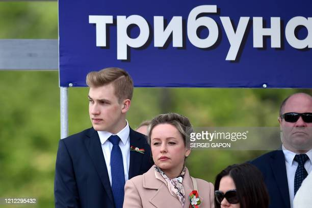 Son of Belarus' President Alexander Lukashenko, Nikolai, attends a military parade to mark the 75th anniversary of the Soviet Union's victory over...