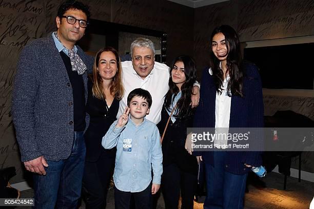 Son of Enrico Macias, Jean-Claude Ghrenassia and his children pose with Enrico Macias during The Enrico Macias Show at L'Olympia on January 16, 2016...