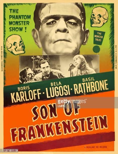 Son Of Frankenstein, poster, top center: Boris Karloff, bottom center from left: Boris Karloff, Basil Rathbone, Bela Lugosi on 1953.